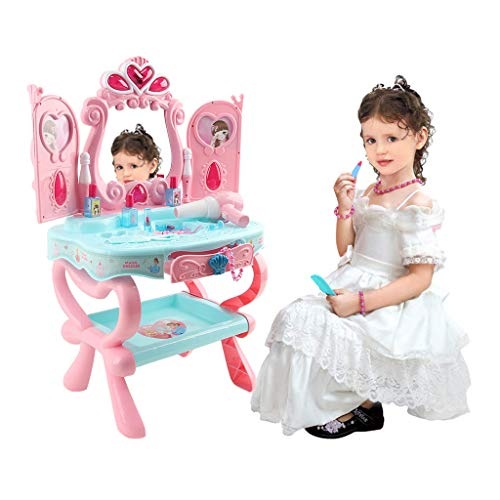 Christmas Gift for Kids Pretend Play Kids Vanity Table and Beauty Play Set with Piano and Fashion Makeup Accessories for Girls Black Friday Deals [Ship from US]