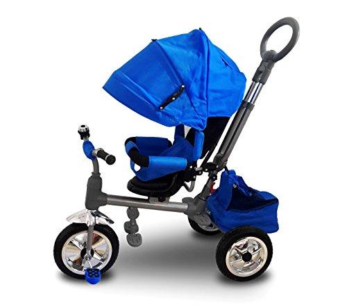 MWS LT 857 Triciclo con Pedales para Bebés con Asiento Giratorio Varios Colores (Azul Oscuro)