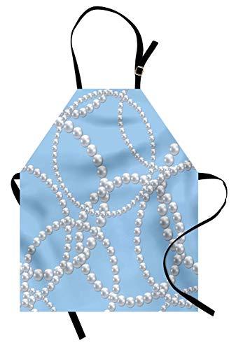 Delantal de perlas, collar de perlas, pulsera clásica para mujer, tema de la ducha de novio femenino, babero de cocina unisex con cuello ajustable para cocinar jardinería, tamaño adulto, azul blanco