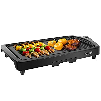 Kuyal Electric Griddle 2-in-1 Indoor Grill Smokeless Coated Non-Stick Pancake Griddle with Cool-touch Handle, 16.7''x8.9'' Extra Large Surface,5-Level Control, 1600W, Black