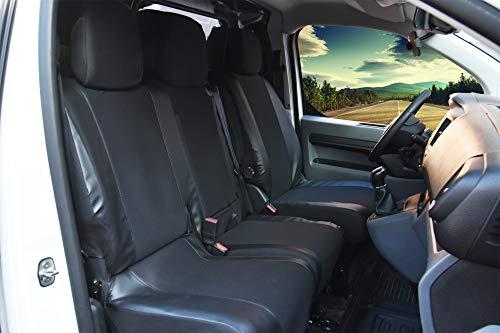 Sitzbezüge Viva passgenau geeignet für Peugeot Expert ab 2016 - Schwarze Kunstleder & Stoff, Vordere Schonbezüge