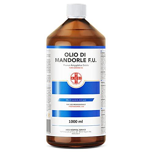 AIESI Olio di Mandorle Dolci F.U. puro 100% spremuto a freddo per uso Farmaceutico Alimentare Cosmetico e Dermatologico flacone da 1 litro # Made in Italy