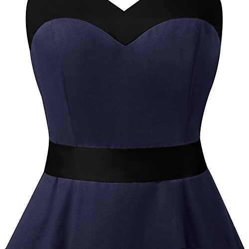 Dresstells Damen Neckholder 1950er Vintage Retro Rockabilly Kleider Petticoat Faltenrock Cocktail Festliche Kleider Navy Black M - 6