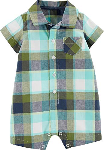 Carter's Baby Boys Plaid Button Front Pocket Romper 6 Months Green/Blue/White