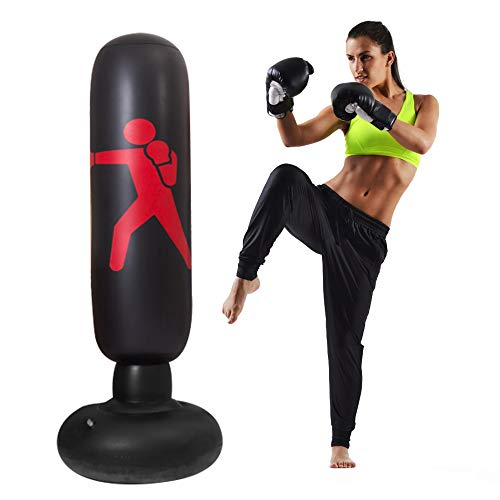 QIQU Kids Punching Bag-63inch Free Standing Punching Bag Humanoid Pattern Inflatable Boxing Toy Big Punching Bag for Kids (Black)