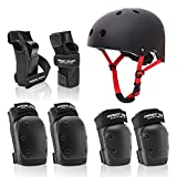7 in 1 Adult Protective Gear Set pro with adjustable bike helmet for Skateboard, Roller Skating, Scooter, Biking.Includes Helmet,Wrist guards,Elbow pads, Knee pads. Size for Adults and kids (BLACK, L)