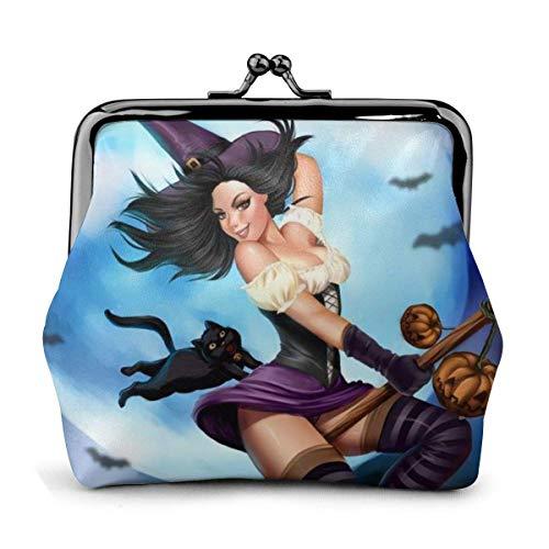 Sexy Witches Ride Broomsticks Fly Halloween Vintage Pouch Girl Kiss-Lock Cambiar Monedero Monederos Hebilla Monederos de Cuero Llave