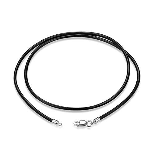 """GOXO Collar Genuino de cordón de Cuero Negro, Cierre de Cadena de Plata esterlina, Longitud de 16"""", 18"""", 20"""", 22"""", 24"""" (22)"""