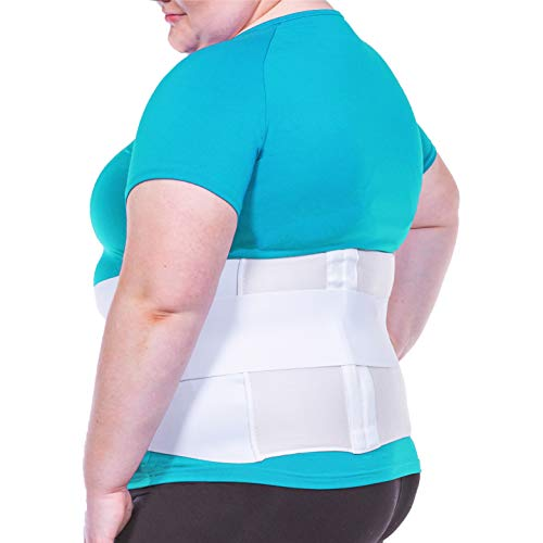 "BraceAbility Plus Size 4XL Bariatric Back Brace - XXXXL Big and Tall Lumbar Support Girdle for Obesity Lower Back Pain in Extra Large, Heavy or Overweight Men and Women (Fits 61""-67"")"