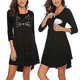 Camisones Lactancia Hospital Vestido Premama Negro Gato Camisón Embarazada Maternidad Pijama Ropa de Enfermería para Parto/L