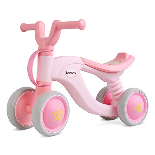 Bamny Baby Balance Bike No Pedal Baby Car Ride on Toy for 1-3 Years Old Children Walker Ages 12-36 Months Durable Toddler Tricycle Infant First Birthday Gift Indoor Outdoor (Pink)