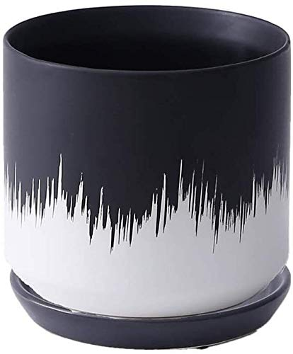 ZKDY Plant Pot 5.9inch/ 5.3 Inch Black And White Round Ceramic Planter Succulent Orchid Plant Pot Nordic Style Indoor Wedding Party Home Centerpiece Decor Plant Containers (Color : Large)