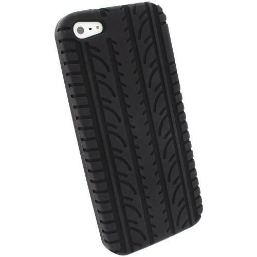 iGadgitz U1924 Silikon Skin Tasche Hülle mit Reifenprofil und Schutzfolie Kompatibel mit Apple iPhone SE, 5S & 5 (nicht 5C, SE 2020) - Schwarz