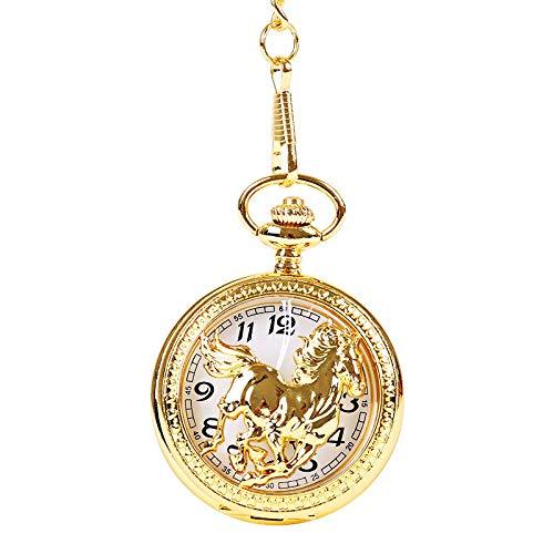 LLXXYY Vintage Vrouwen Mannen Voor Ketting Pocket Horloge Unisex, Nieuwigheid Glanzend Goud Paard Driedimensionaal Patroon Perspectief Pocket Horloge Met Ketting Voor Taille Chain Sweater Ketting Pocket Horloge Gif