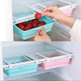 2 piezas Organizador de cajones de nevera Caja de almacenamiento plegable para el hogar Cocina Refrigerador Ahorrador de espacio Surtido de alimentos Refrigerador Estante