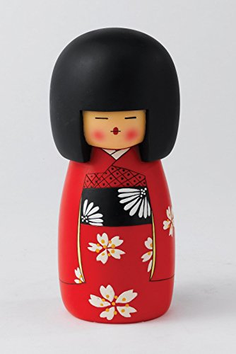 Kakeshi, Japanische Puppe. Spardose aus Polyresin. Bunt bemalt. 7x17 cm.