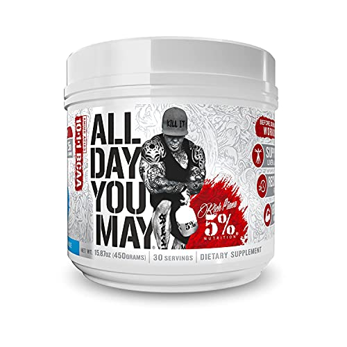 Rich Piana 5% Nutrition AllDayYouMay BCAA Powder, 9g Amino Acids | Elite Intra & Post Workout for Muscle Recovery, Hydration, Endurance, Joint & Liver Support | 16.4 oz, 30 Srvgs (Blueberry Lemonade)