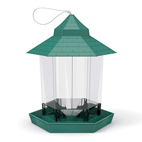 CNKOBE Bird Feeder Hanging Gazebo Wild Bird Feeder, Outdoor Bird Plastic Food Container Waterproof Garden Decoration