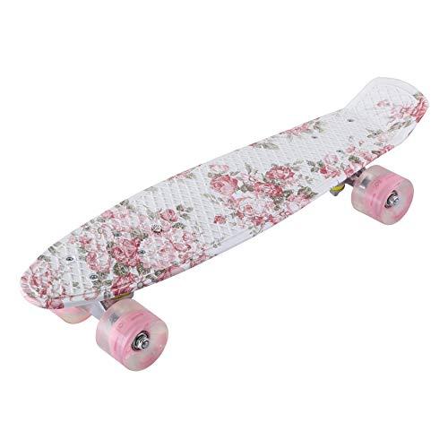 Vintage bloemen oplichtend skateboard PU-rooster patroon voor kinderen