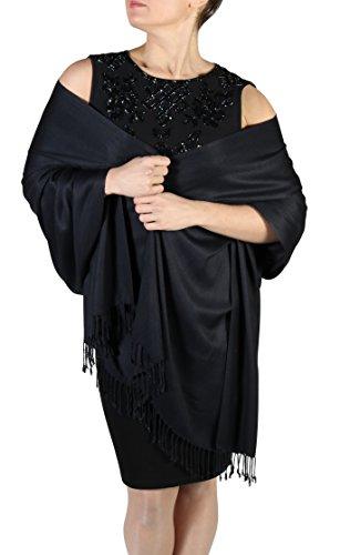 York Shawls Pashmina Schal Tuch für Frauen - Quastenveredelung - Kostenloser Aufhänger (Über 20 Farben) Handgefertigt (Schwarz)