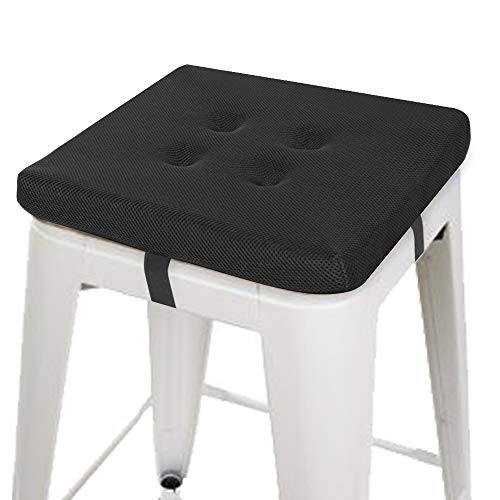 baibu Square Chair Pads, Super Breathable Stool Cushions Square Seat Cushions - One Pad Only (14', Black Velcro)