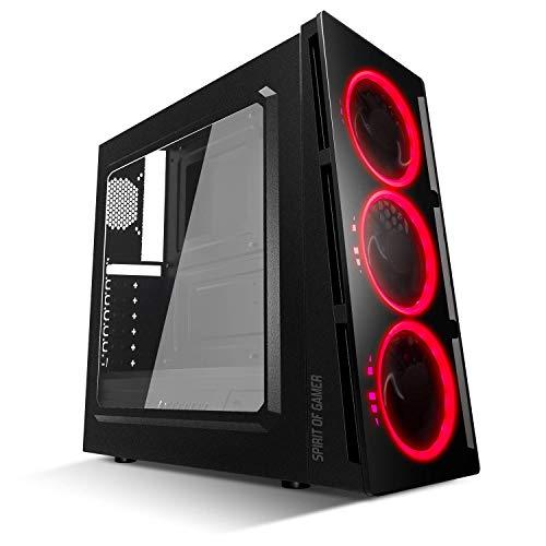 SPIRIT OF GAMER DEATHMATCH 5 - Boitier PC Gaming ATX - mATX - Compatible MITX / 3 Ventilateurs avant Single Ring LED BLANC / BLEU / ROUGE – Paroi et Fenêtre Latérale en Plexiglass (ROUGE)