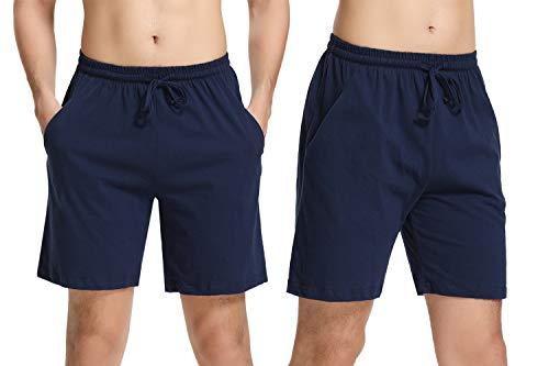 Aibrou Herren Schlafanzughose Kurz Baumwolle Pyjamahose Shorty Sommer Nachtwäsche Schlafanzug Sleep Hose Pants Blau 2er Pack M