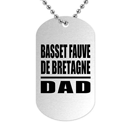 Basset Fauve De Bretagne Dad - Military Dog Tag Collar Colgante Militar Plateada - Regalo para Cumpleaños, Aniversario, Día de Navidad o Día de Acción de Gracias