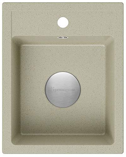 Spülbecken Beige 40 x 50 cm, Granitspüle + Siphon Premium, Küchenspüle ab 40er Unterschrank, Einbauspüle von Primagran