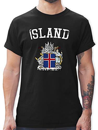 Fussball EM 2021 Fanartikel - Island Wappen WM - L - Schwarz - Trikot Deutschland - L190 - Tshirt Herren und Männer T-Shirts