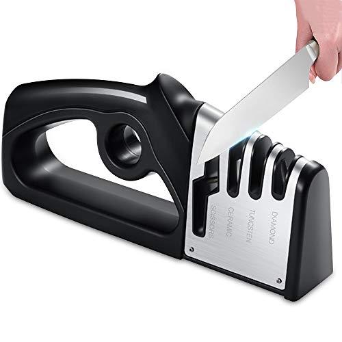 Messerschärfer, 4 Stufen Messerschleifer Profi für Küchenmesser,Schärfen Wolfram-Carbid-Stahl, Keramikstein, Scherenschärfer Knife Sharpener Messer mit Rutschfestem Halter