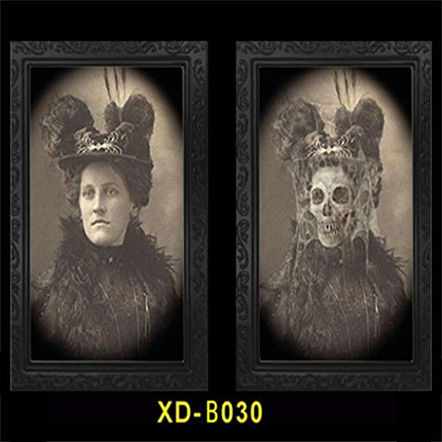 Horror Picture Frame Lenticular 3D Changing Face Scary Portraits Haunted Spooky Hanging Picture, Decorative Wall Photo Frame Props Ghost Craft for Halloween Theme (B030, 14.96×9.84'')