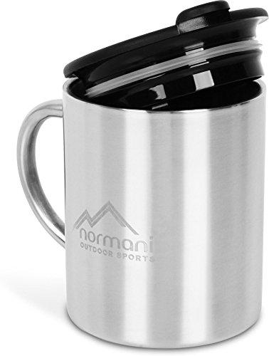 normani Outdoor Camping Edelstahltasse mit Trinkdeckel 250 ml - Doppelwandig und Rostfrei
