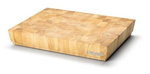 Continenta Profi Hackblock aus hochwertigem Gummibaum Stirnholz, massive Holzwürfel einzeln verleimt, Profi Qualität Schneidebrett, 48 x 36 x 7,3 cm