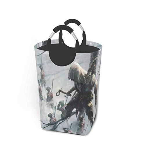 Assassins Creed Snow - Cestas de lavandería con asas plegables, impermeables, duraderas, 50 l, gran capacidad, 22,7 pulgadas, cesta de lavandería cuadrada para dormitorio, baño, dormitorio, armario, a