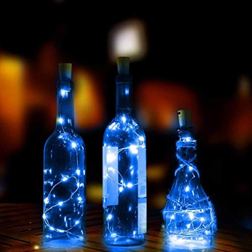 UWY Cork Copper Wire Starry Fairy Lights, 4 Pack 2M 20 LED Wine Bottles String Lights Battery Operated Waterproof for DIY Party Wedding Bedroom Decor (Blue)