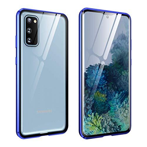FHZXHY Carcasa para Samsung Galaxy A32 5G con cierre de seguridad transparente de doble cara HD 9H vidrio templado marco magnético metal carcasa protectora para Samsung Galaxy a32 5g 6.5' 2021-azul