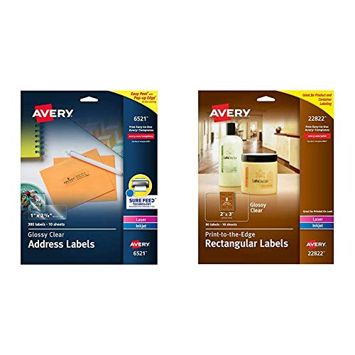 """Avery 6521 Glossy Crystal Clear Address Labels for Laser & Inkjet Printers, 1"""" x 2-5/8"""", 300 Labels & Rectangle Labels with Sure Feed, Laser & Inkjet Printers, 2"""" x 3"""", 80 Glossy Crystal Clear Labels"""