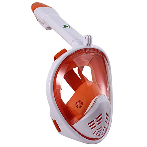 Thirty seven DAYS Full Face Snorkel Mask/Snorkeling Mask with Detachable Camera Mount, 180 Panoramic Anti-Fog Anti-Leak Diving Mask with Safety Breathing System for Adult and Kids (Orange, S/M)
