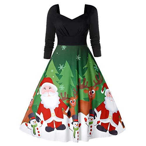Robe de Noël pour femme avec imprimé Père Noël, bonhomme de neige, renne, élan, robe plissée vintage années 1950, manches longues, robe de soirée, robe de cocktail, robe de balançoire - Noir - L