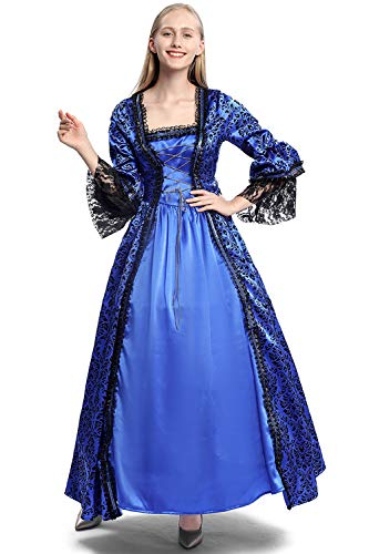 Women's Medieval Renaissance Costume Dress Gothic Victorian Ball Gown Vampire Halloween Costume (S, Blue)