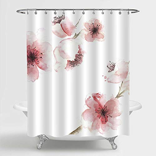 MitoVilla Spring Floral Shower Curtain for Women, Chinese Watercolor Pink Cherry Blossom Print, Waterproof/Mildew Resistant Fabric Bathroom Decoration with Hooks, 72 Inch Long