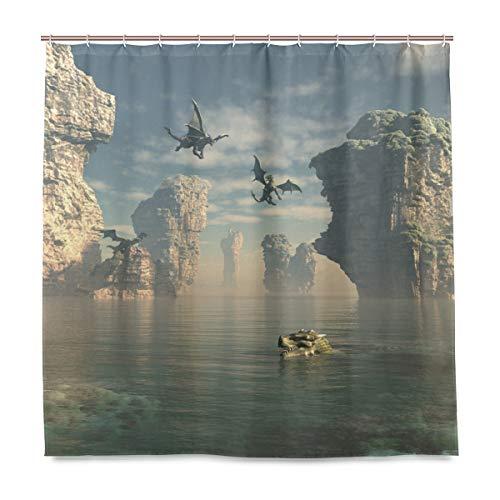 MNSRUU Fliegender Drache Duschvorhang inkl. 12 Haken Polyester Stoff Deko Badezimmer Wasserdicht Schimmelfest für Zuhause & Hotel
