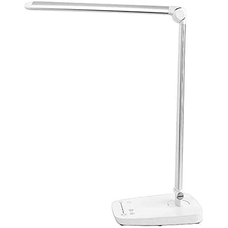 Amazon Com Led Desk Lamp W Usb Charging Port Dimmable 7 Lighting Modes Adjustable Arm Touch Panel Eye Care White And Silver Metal And Abs Office Work Home Table Bedside Light 10w Home Improvement
