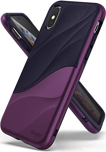 """Ringke Wave Compatible iPhone Xs Case, iPhone X Case [Metallic Purple] Dual Layer Heavy Duty 3D Textured PC TPU Full Body Drop Resistant Protection Modern Design Cover iPhone Xs 5.8"""""""