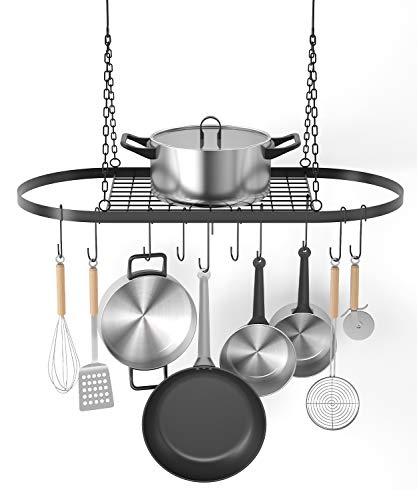 X Home Pot and Pan Rack for Ceiling with Hooks