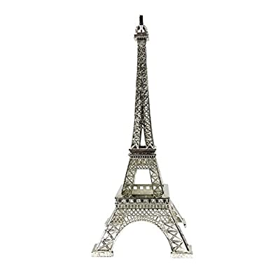 "allgala 10"" Eiffel Tower Statue Decor Alloy Metal, Silver"