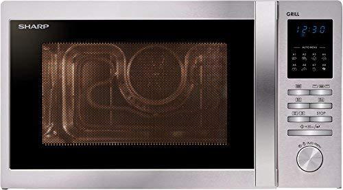 Sharp R-722STWE Encimera 25L 900W Acero inoxidable - Microondas (Encimera, 25 L, 900 W, Botones, Giratorio, Acero inoxidable, 1000 W)