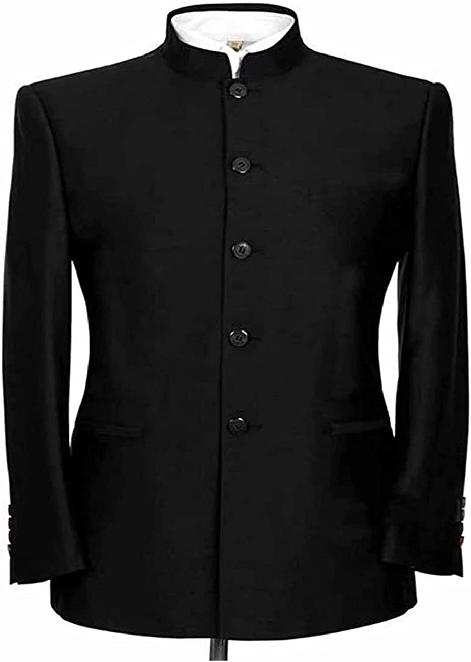 2 Pcs Men's Chinese Tunic Suit,One Stand Collar Slim Fit Blazer with One Pant for Weddings and Daily Life
