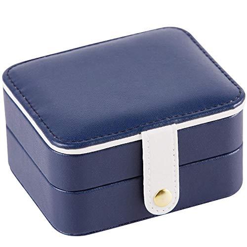 2 capas Caja Joyero para mujer cuero PU Caja Organizadora de Joyas con espejo y cerradura pequeño portátil de viaje Caja de Joyas para pulseras / anillos / collar-Azul marino